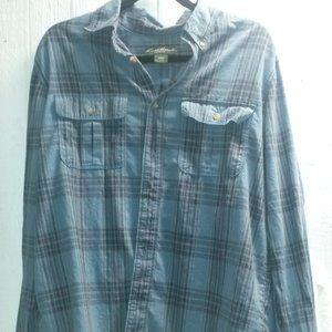 Eddie Bauer Blue Plaid Flannel Men's Shirt Size L